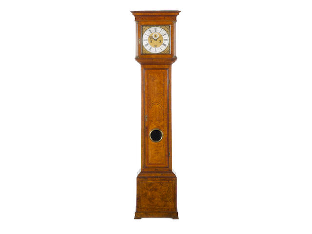 A fine and rare late 17th century burr maple longcase clock Simon de Charmes, London,