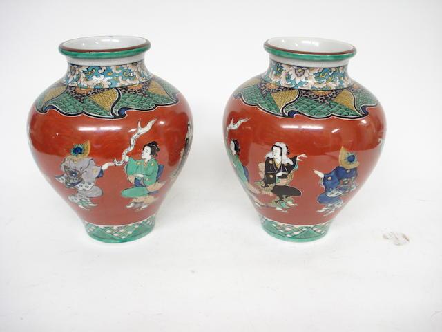 A pair of Kutani vases