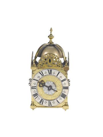 A good late 17th century miniature striking lantern clock with alarm Joseph Knibb, London