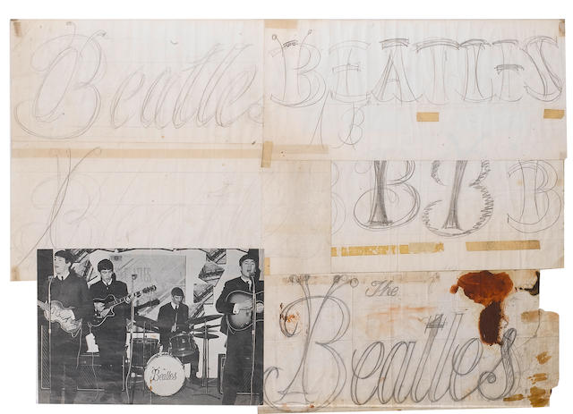 An original Beatles drum logo and designs, by Tex O'Hara,