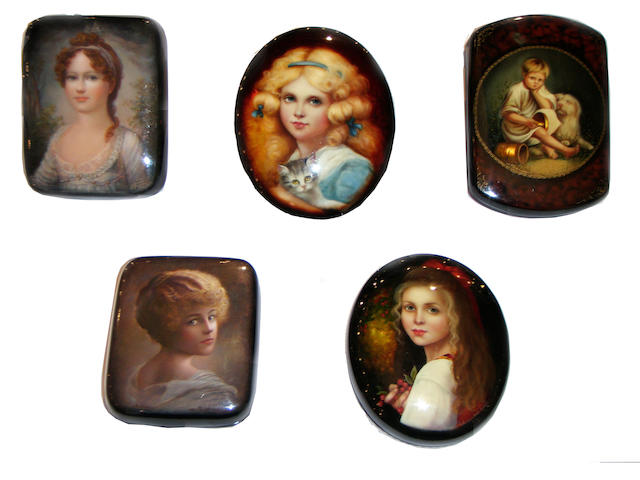 A collection of Russian lacquer boxes by Fedoskino