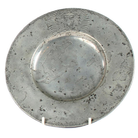 A 17th Century broad rim plate, French