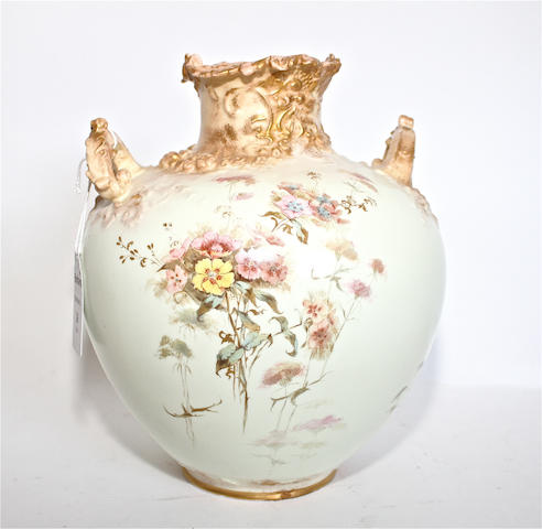 A Royal Crown Derby blush ivory twin-handled vase Dated 1893