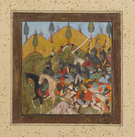 Two scenes depicting rulers with cavalry detachments riding through mountainous country Bokhara, late 16th Century(2)