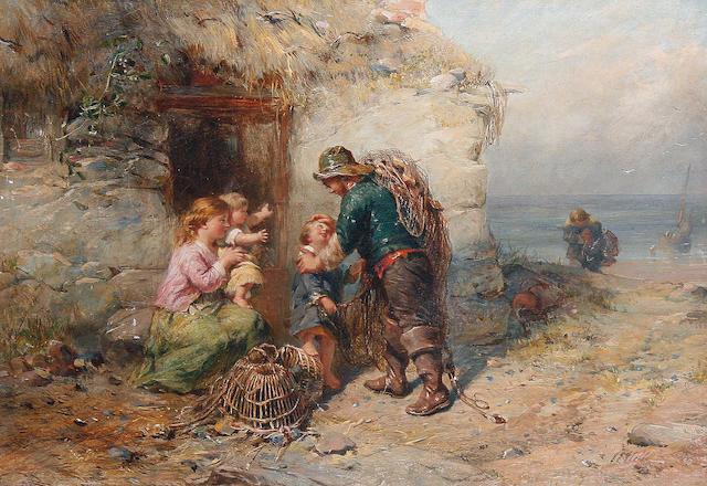 James John Hill (British, 1811-1882) The fisherman's return