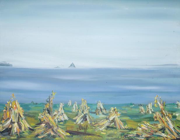 Maria Simonds-Gooding (Irish, born 1938) Coastal scene 70.5 x 91 cm. (27 3/4 x 35 3/4 in.)