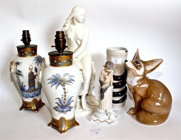 A Minton parian figure of Miranda, three Royal Copenhagen pieces and a pair of porcelain table lamps