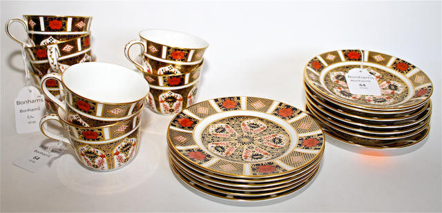 A Royal Crown Derby Imari pattern part tea service Circa 1980