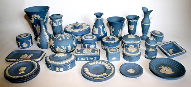 A collection of Wedgwood blue Jasperware 20th century