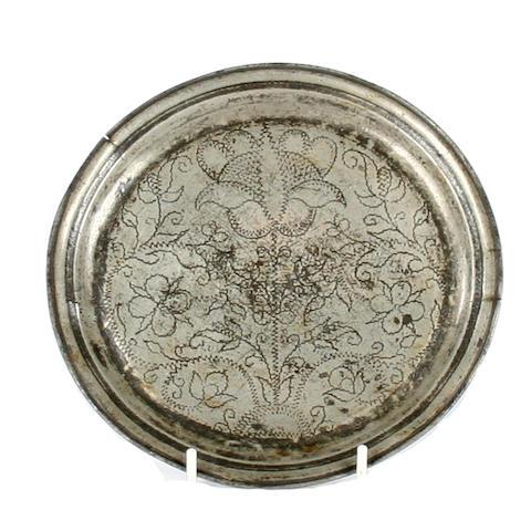 A wrigglework narrow rimmed plate, circa 1700