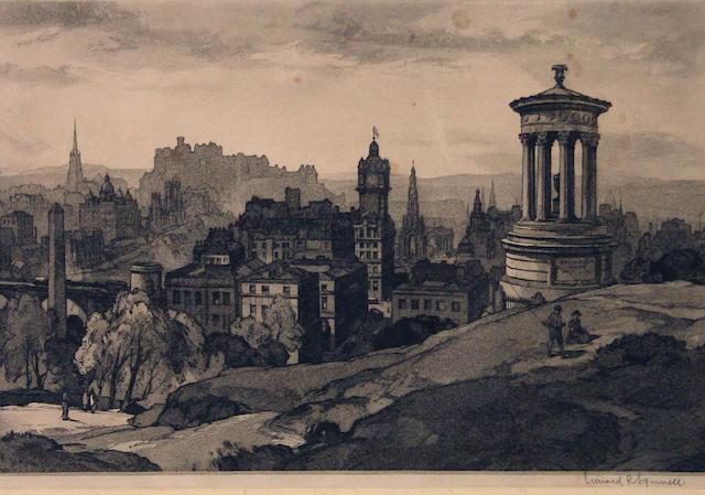 Leonard Russell Squirrell, R.W.S., R.I., R.E. (British, 1893-1979) Edinburgh from Castle Hill; Kilchurn Castle