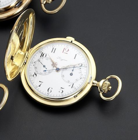 Longines. An 18ct gold full hunter chronograph pocket watch No.3911811, circa 1920
