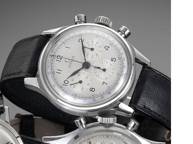 Omega. A stainless steel manual wind chronograph wristwatch Reference: 10387860, circa 1944