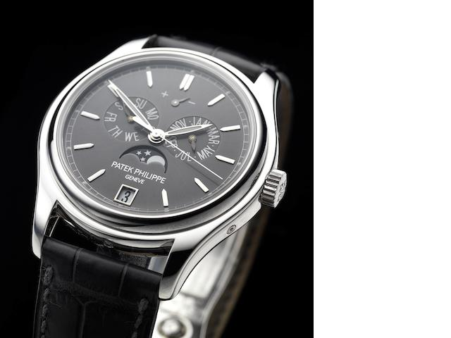 Patek Philippe. A very fine platinum automatic centre seconds wristwatch with annual calendar, moon phases and 48 hour power reserve, together with Certificate of Origin and bookletAnnual Calendar, Ref:5146P, Case No.4716956, Movement No.3803670, recent