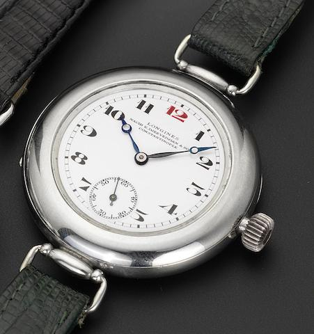 Longines. A fine and rare large stainless steel wristwatch with hinged lugs Movement No.3364595, Case No.3489252. Delivered to Longines agent Nacib K.Djez Vedjian & Son, Constantinople in 1911