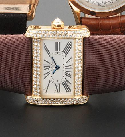 Cartier. An 18ct gold and diamond set ladies wristwatch Tank Divan, recent