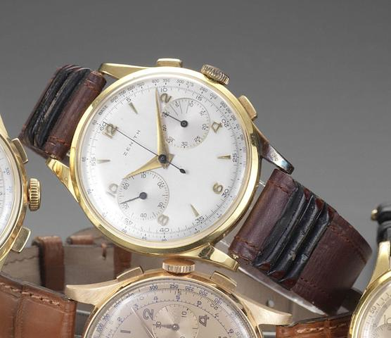 Zenith. An 18ct gold manual wind chronograph wristwatchCirca 1950
