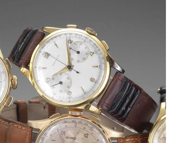Zenith. An 18ct gold manual wind chronograph wristwatch Circa 1950