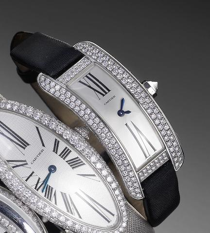 Cartier. A fine 18ct white gold and diamond set ladies wristwatch Recent