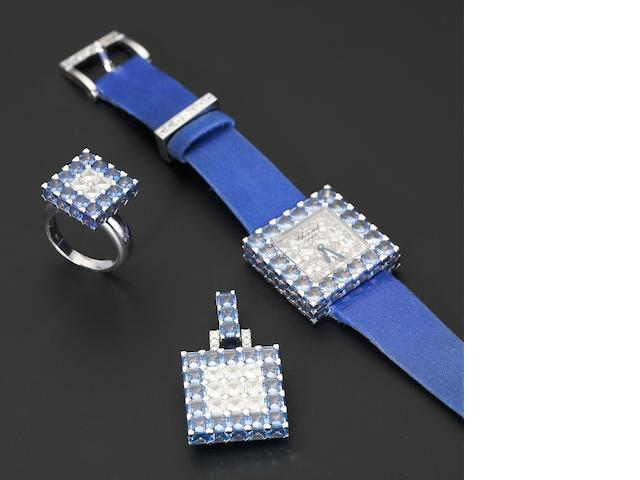 Chopard. A fine and rare 18ct white gold, diamond and sapphire set watch with pendant and matching ring Ice Cube, retailed by De Grisogono, Numbered No.5, recent