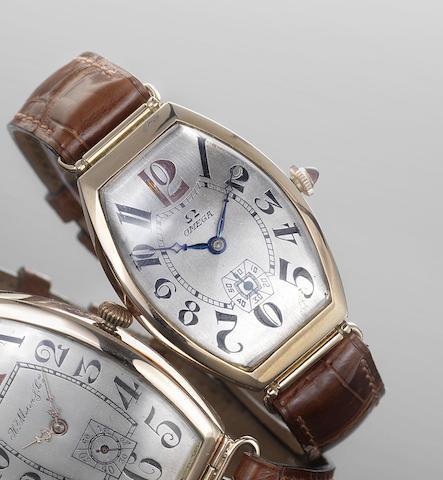 Omega. A rose gold manual wind tonneau wristwatch Serial No. 8,237,579, circa 1935