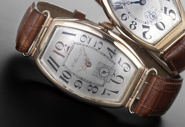 Henry Moser & Co. A 14ct rose gold manual wind tonneau wristwatch Serial No. 122,363, circa 1925, made for the Russian market