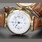 Ulysse Nardin. An 18ct gold single button chronograph wristwatch 1920's