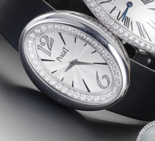 Piaget. An 18ct white gold diamond set wristwatch together with matching ringLimelight Magic Hour, recent
