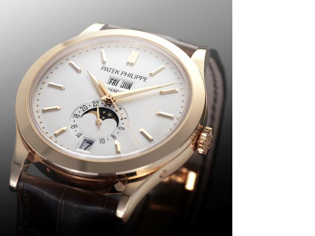 Patek Philippe. A fine 18ct pink gold automatic wristwatch with moonphase Ref:5396R, Case No.4505592, Movement No.5525034, Sold 14 July 2010