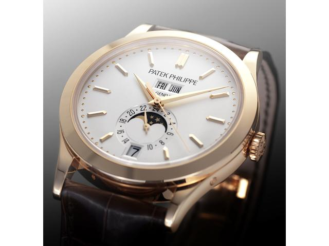 Patek Philippe. A fine 18ct pink gold automatic wristwatch with moonphaseRef:5396R, Case No.4505592, Movement No.5525034, Sold 14 July 2010