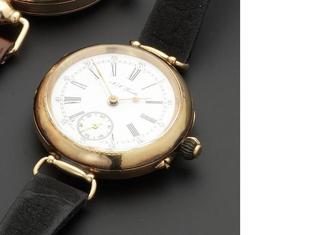 Swiss. A 14ct gold manual wind wristwatch Dial signed N.N.Boutte, circa 1915