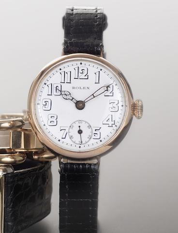 Rolex. A 9ct rose gold manual wind wristwatch Circa 1920