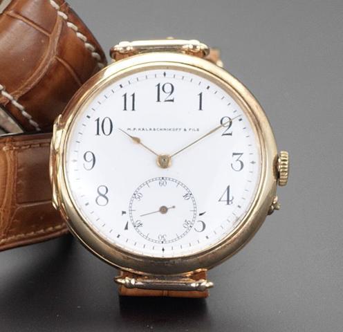 Swiss. A 14ct gold manual wind wristwatchNo.150580, circa 1930