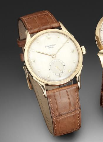 Patek Philippe. A fine 18ct pink gold manual wind wristwatch with Extract from Archives Ref:1589, Case No.301685, Movement No.964136, Made in 1949, Sold December 20th 1949