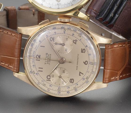 Titus. An 18ct rose gold manual wind chronograph Circa 1950
