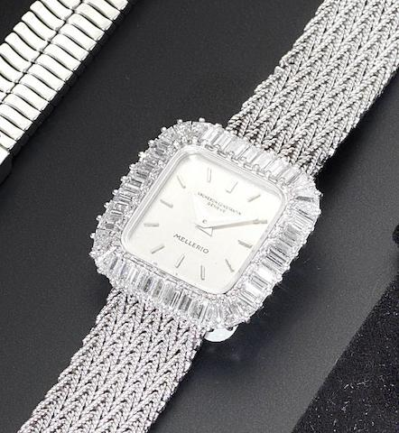 Vacheron Constantin. A fine 18ct white gold and diamond set ladies bracelet watch Retailed by Mellerio of Paris, 1970's