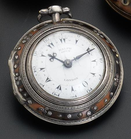 Ralph Gout. A silver and horn triple cased watch Turkish Market, Number 23624, Middle Case Hallmarked London 1815, Inner Case Hallmarked 1822