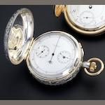 Tiffany. A split seconds chronograph pocket watch in later silver case No.16994, circa 1890