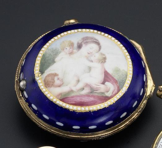 E. Faulkner. A gilt pair cased pocket watch with enamelled panel to outer case back Number 1177, circa 1750