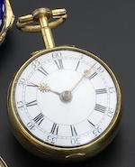 E. Faulkner. A gilt pair cased pocket watch with enamelled panel to outer case backNumber 1177, circa 1750
