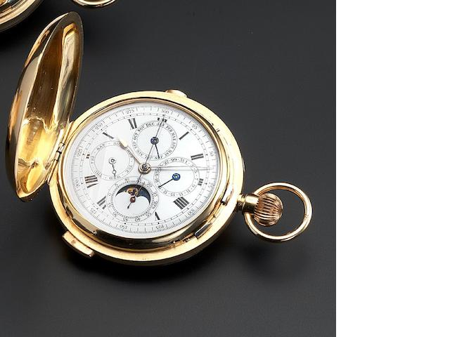 Swiss. An 18ct gold full hunter pocket watch with minute repeat, short duration chronograph, calendar and moonphase Case Number 36523, Hallmarked London Import 1912