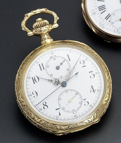 Longines. An 18ct gold open face chronograph pocket watch commemorating longevity of service to the Bern fire department Circa 1907