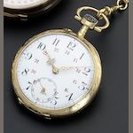 Swiss. An 18ct gold open faced keyless wind pocket watch, with 18ct gold Albert chain Circa 1900