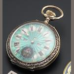 Swiss. A silver and niello cased open face keyless wind pocket watch with calendar and moon phase Circa 1910
