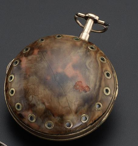 Ageron. A gilt and rose gold pair cased repeating watch with date and tortoiseshell veneer outer caseCirca 1780