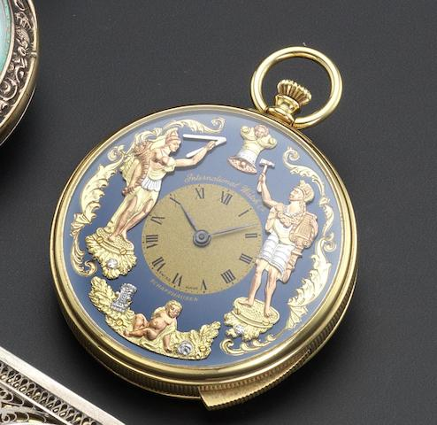 IWC. A contemporary 18ct gold jacquemart repeating pocket watch Recent