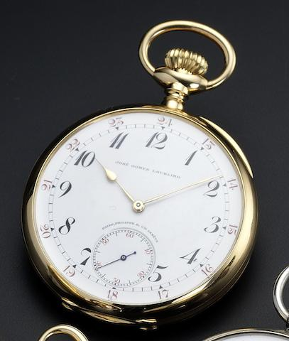 Patek Philippe. A fine 18ct rose gold open face keyless wind pocket watch Retailed by Gondolo & Labouriau, made for Jose Gomes Loureiro, No.177161, circa 1918