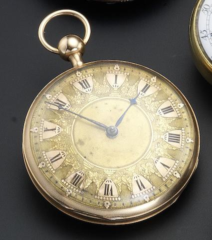 French/Swiss. A rose gold open face quarter repeating pocket watch Number 445, circa 1820