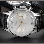 Baume and Mercier. A stainless steel manual wind chronograph wristwatch 1950's