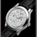 Jaeger LeCoultre. A very fine 8 day going platinum wristwatch with perpetual calendar and power-reserve indication with platinum deployant clasp Master Control 1000 Hours, Master Eight Days Perpetual - Antoine LeCoultre, No. 089/200, Ref. 146.6.26.S. Made in a limited edition of 200 pieces, circa 2005